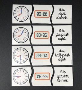 Savoir dire l'heure en anglais: activité d'appariement