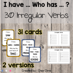 """""""I have who has ?"""" – Irregular Verbs Game"""