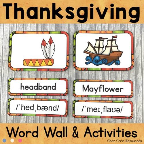 couverture du word wall words consacré à Thanksgiving