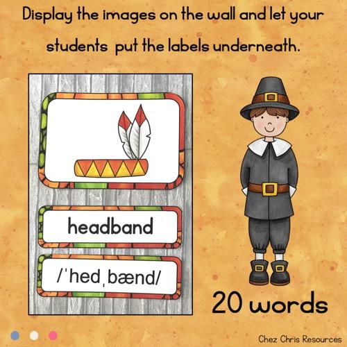 vignette du word wall words consacré à Thanksgiving