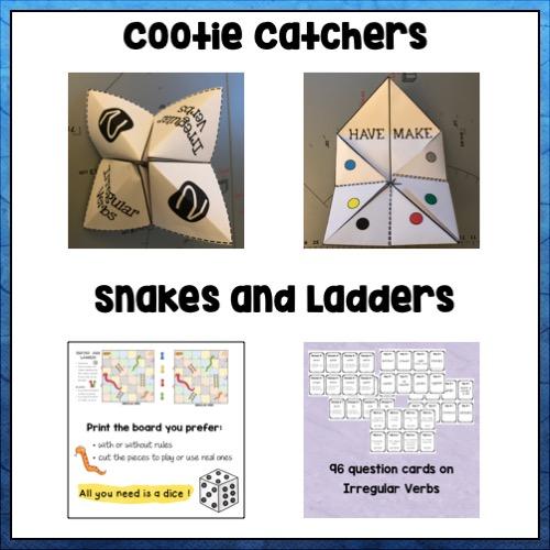 """Vignette sur les jeux sur les verbes irréguliers: les cocottes en papier et """"Serpents et échelles"""""""