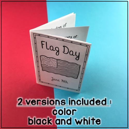 le mini livre sur le jour du drapeau américain (14 juin): 2 options incluses (couleur et noir et blanc)