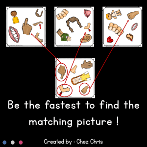 Body Parts – Find the one game & flashcards