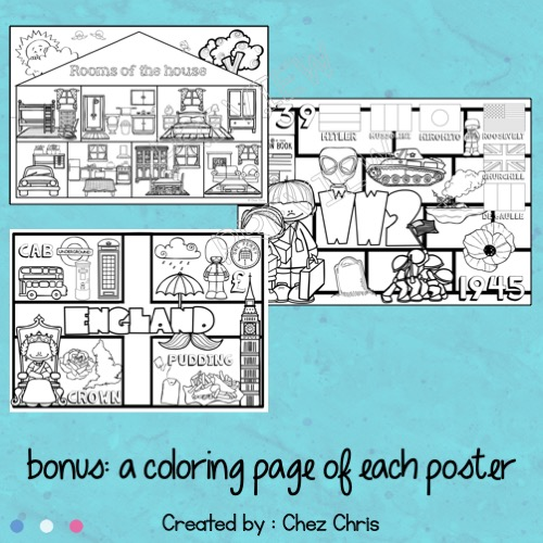 Bundle des posters collaboratifs : bonus - images du poster à colorier et à coller dans le cahier de l'élève