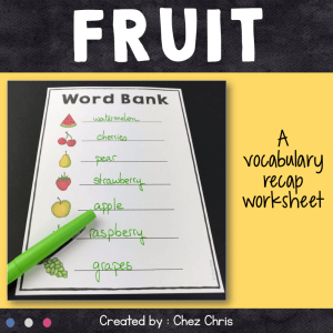 Dominoes : Fruit Vocabulary