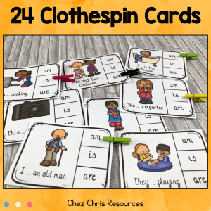 BE: Subject Verb Agreement Clothespin Clip Cards