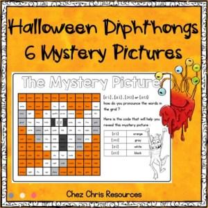 coloriages magiques d'Halloween, les diphtongues