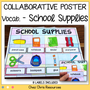 School Supplies Vocabulary Collaborative Poster