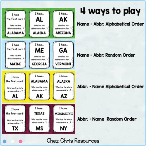 """Vignette du jeu """"J'ai qui a"""" montrant les 4 types de jeux inclus dans la ressource"""