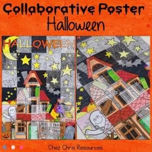 couverture du poster collaboratif Halloween, activité de coloriage