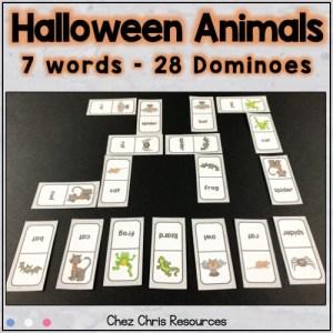 """vignette montrant les dominos présents dans la ressource """"les animaux d'Halloween"""""""