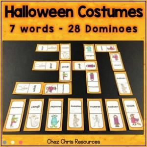 les costumes d'Halloween : image des dominos montrant ce qui est proposé par la ressource