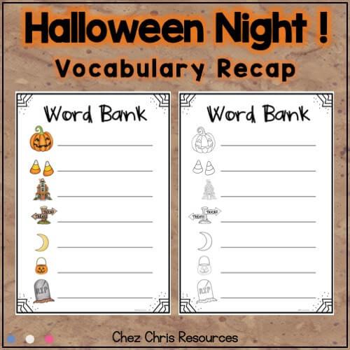 image récapitulative du vocabulaire utilisé dans la ressource consacrée aux dominos sur la nuit d'halloween