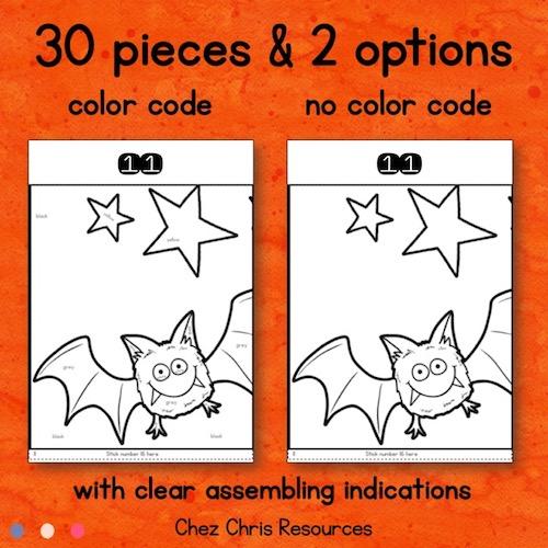 vignette du poster collaboratif Halloween, activité de coloriage