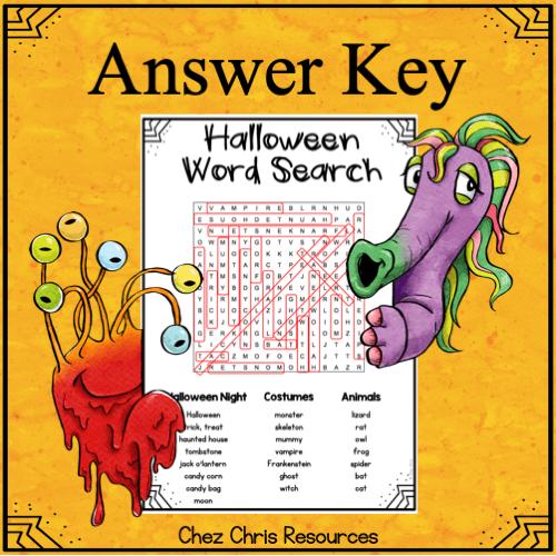 """image montrant la solution à la ressource """"les mots cachés d'Halloween"""""""