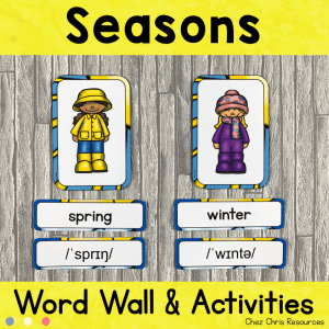 Seasons – Word Wall Words and Puzzle Activity