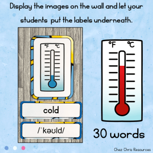 Weather  – Word Wall Words and Puzzle Activity – Vocabulary