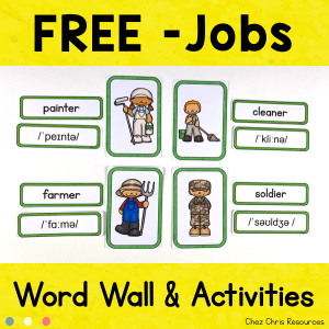 JOBS  – Free Word Wall Words and Puzzle Activity