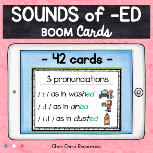 BOOM Cards : Sounds of -ED (past tense regular verbs)