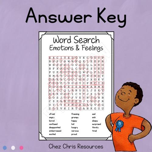 Solutions de la grille de mots cachés sur le vocabulaire en anglais des émotions et des sentiments