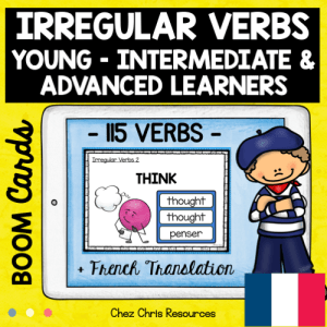 BOOM Cards : Irregular Verbs with French Translation BUNDLE