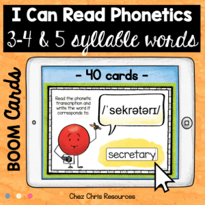 BOOM Cards : I can read phonetics ! 3, 4 & 5 syllable words