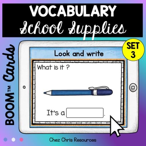 Les fournitures scolaires en anglais: les élèves regardent l'image et écrivent le mot correspondant dans la case prévue à cet effet.