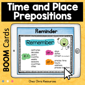 BOOM Cards : Time and Place Prepositions