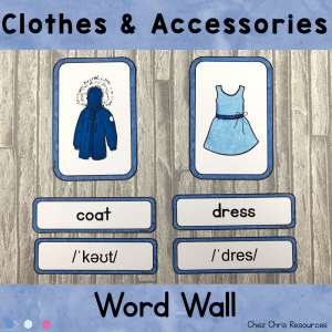 Clothes and Accessories Word Wall Words