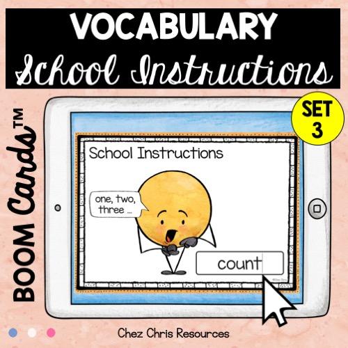 les consignes de classe en anglais avec les boom cards: écrire le mot qui correspond à l'image