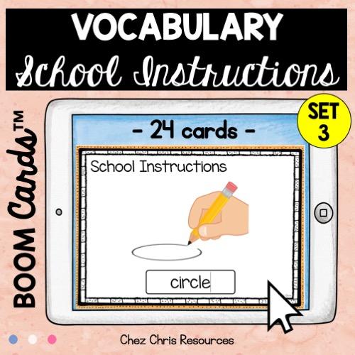 les consignes de classe en anglais avec les boom cards: écrire le mot qui correspond à l'image (ici: anglais)