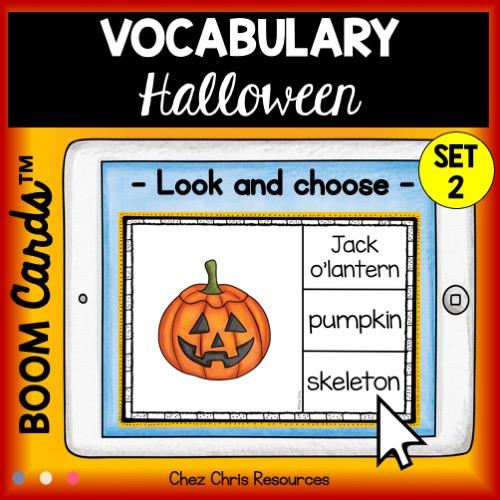 couverture du deuxième set de boom cards consacré au vocabulaire d'Halloween en anglais.