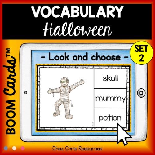 vignette du 2eme set de boom cards déidé au vocabulaire D'Halloween en anglais
