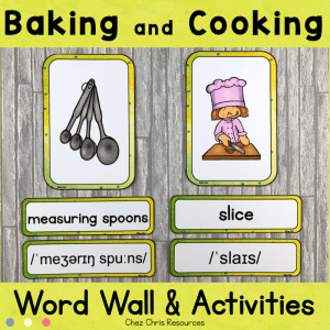 Baking and Cooking Word Wall Words