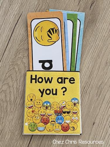 une pochette pour ranger les étiquettes sur le vocabulaire des émotions en anglais