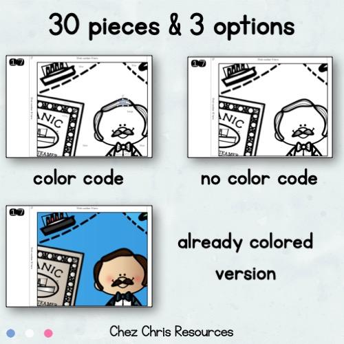 vignette montrant les différentes options pour réaliser le poster collaboratif sur le Titanic: avec un code couleur, sans code couleur, déjà colorié.