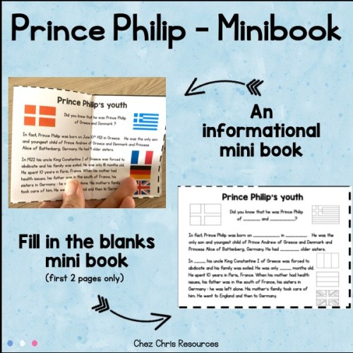 détail de l'intérieur du mini livre à imprimer consacré au prince philippe