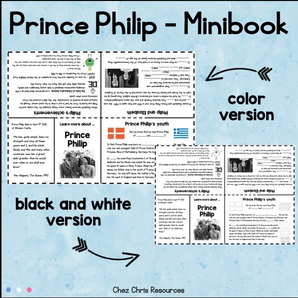 Mini livre à imprimer consacré au prince philip : détail de l'intérieur