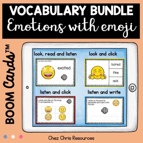 Couverture de la ressource Emtions et sentiments en anglais avec les boom cards - bundle de 4 ressources