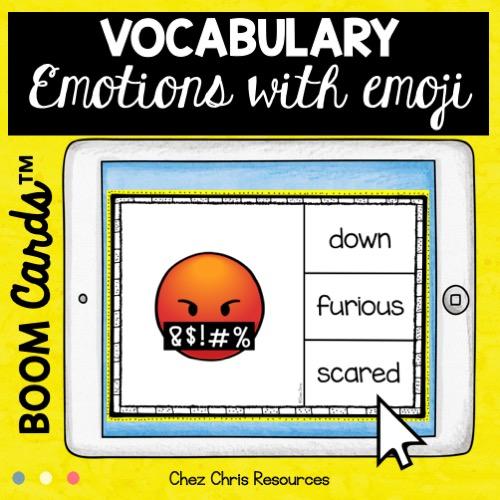 Les émotions en anglais - vignette : les élèves doivent choisir le mot correspondant à l'image