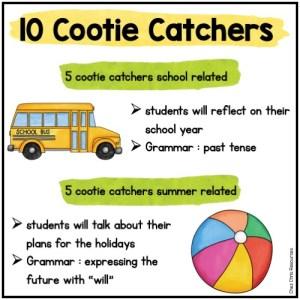 contenu des cocottes: activités de fin d'année scolaire au collège en anglais