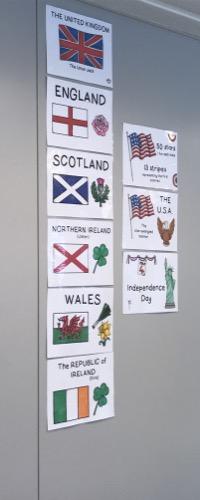 des posters culturels avec les pays, leurs symboles et drapeaux