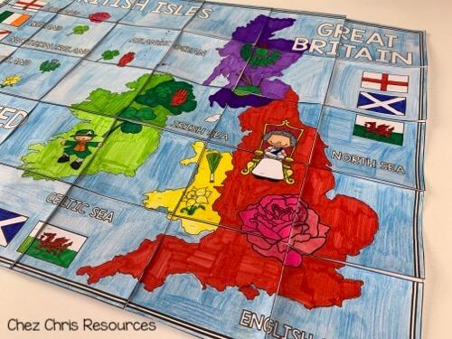 le poster collaboratif des iles britanniques pour décorer la salle de classe d'anglais