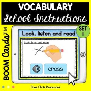 les consignes de classe en anglais avec les boom cards: apprendre du vocabulaire et entendre la prononciation