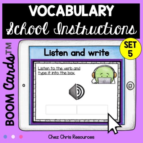Dictée de mots autour des consignes de classe en anglais - vignette