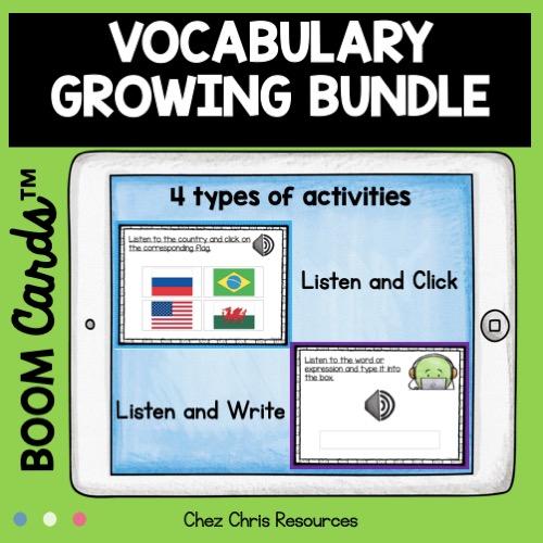 les activités contenues dans les boom cards du bundle vocabulaire en anglais en autonomie