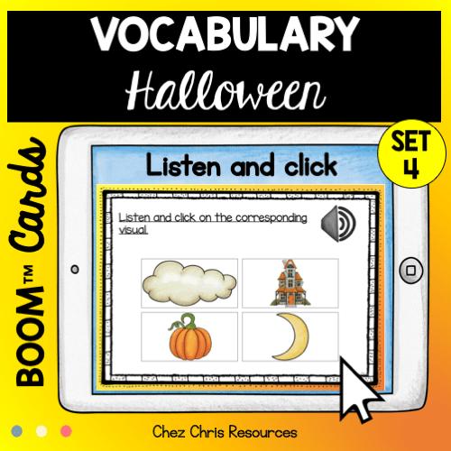 couverture du 4e set de boom cards consacré au vocabulaire d'Halloween en anglais.
