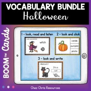 3 types de ressources dans ce bundle sur le vocabulaire d'Halloween en anglais