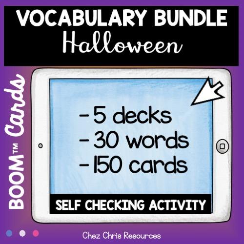 vocabulaire d'halloween: 5 decks, 30 mots, 150 cartes