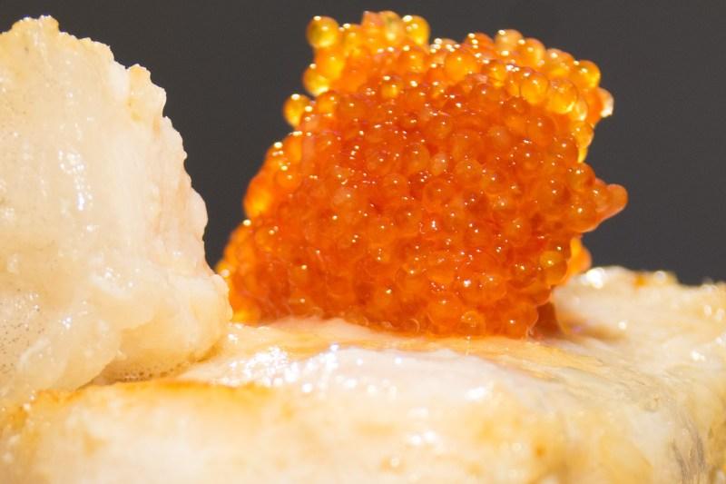Steinbit med risotto og skalldyrskum